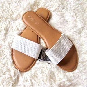 White Slip On Flat Sandals